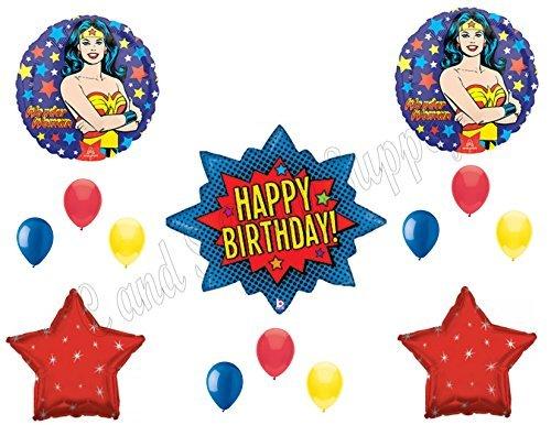 WONDER WOMAN Birthday Balloons Decoration Supplies Super Hero