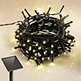 100 LEDs Solar String Light for Outdoor Indoor Use IP55 Waterproof, 8 Modes with Timer, One Rechargeable Battery Included, 39ft, Warm White