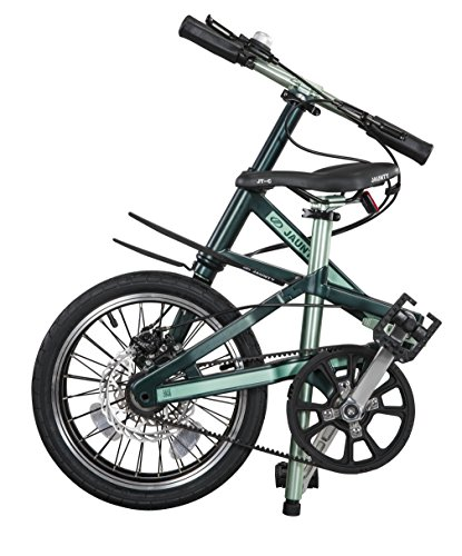 Jaunty Carbon Fiber Folding Bike Lightweight Single Speed , Green , M