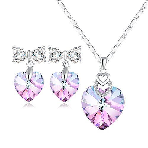 PLATO H Gift For Mom Brave Heart Pendant Necklace & Earrings Jewelry Set with Swarovski - Sapphire Set Heart Pendant