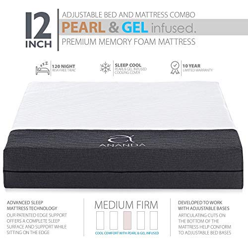 Ananda 12'' Split King Pearl and Cool Gel Infused Memory Foam Mattress with Premium Adjustable Bed Frame Combo, Head Tilt, Massage, USB, Zero Gravity,Anti-Snore