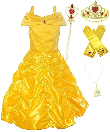 Romy's Collection Princess Belle Yellow Party Costume Dress-Up Set (4-5, Yellow)