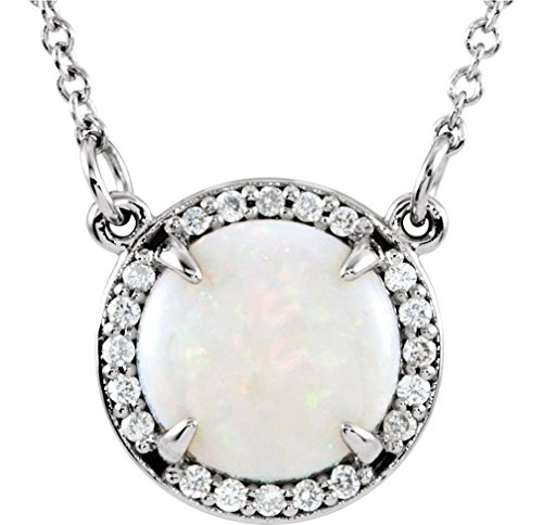 14k White Gold Cabochon Opal and Diamond Halo Necklace, 16'' by The Men's Jewelry Store (for HER)
