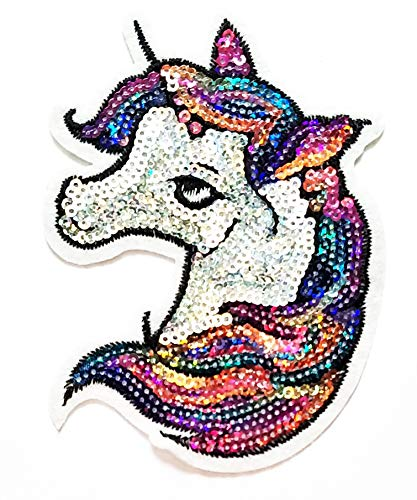 Nipitshop Patches Sequin Fashion Head Unicorn Horse Cartoon Kids Patch Embroidered Iron On Patch for Clothes Backpacks T-Shirt Jeans Skirt Vests Scarf Hat Bag