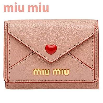 23584eaf118b Amazon | [セット品] 正規紙袋付き MIUMIU ミュウミュウ ミニ財布 財布 三つ折り財布 ピンク レッド 赤 | 財布