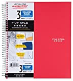 Five Star Wirebound Notebook, 3-Subject, 150 College Ruled Sheets-Super Pack-5 Notebook, Assorted Colors