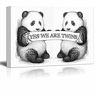 Canvas Wall Art - Two Pandas with The Banner Yes We are Twins - Gallery Wrap Modern Home Art | Ready to Hang - 12x18 inches