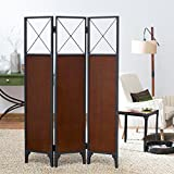 Room Divider 3panel Made of Metal and Wood in Espresso Finish