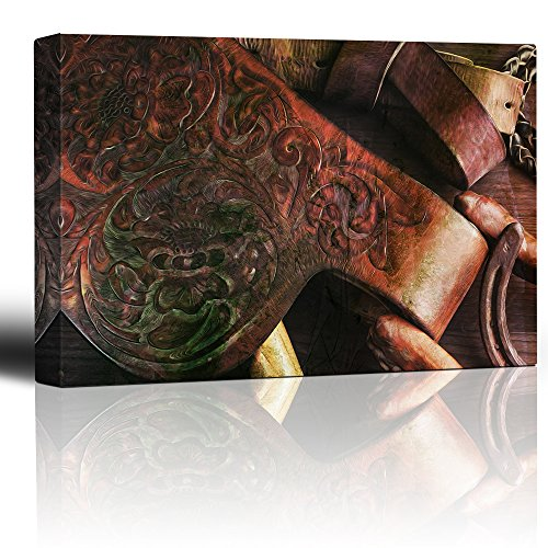 wall26 - Close up of a Vintage Styled Leather Saddle - Canva