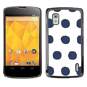 TopCaseStore / la caja del caucho duro de la cubierta de protección de la piel - Dot Pattern Grey White Minimalist - LG Google Nexus 4 E960