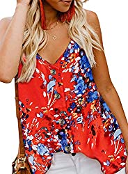 Plus Size Tank Tops For Oversized Women Summer Casual Sleeveless Floral Shirts Blouses Red 2x