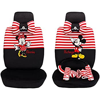 1 Set Beautiful Cartoon Car Seat Covers Full Steering Wheel Cover Red Black