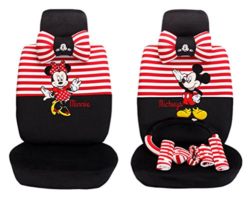 Price comparison product image 1 Set Beautiful Cartoon Car Seat Covers Full Set Car Steering Wheel Cover (red+black)