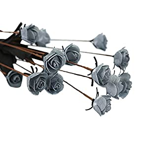 Alelife Artificial PE Fake Flowers Rose Floral Wedding Bouquet Bridal Hydrangea Wedding Party Decor Salon Plants 2019 (Gray) 62