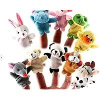 A2S Soft Plush Furry Finger Dolls, Mini Cute Cartoon Biological Animal Puppet Toys