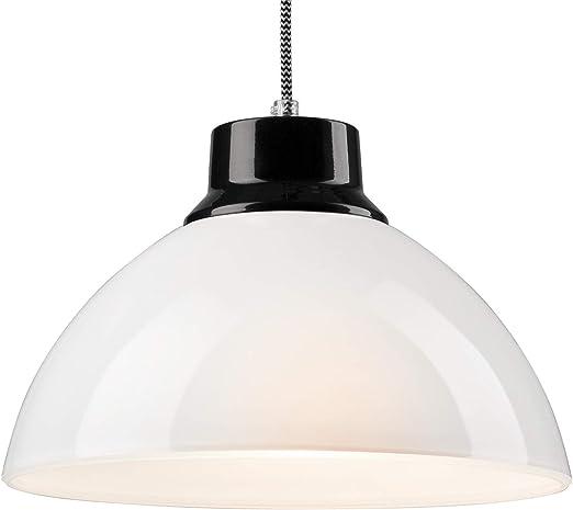 Lámpara De Techo De Cristal E27 Lámpara Colgante Color Blanco Negro Lámpara Industrial Vintage Lámpara Con Cable Amazon Es Iluminación