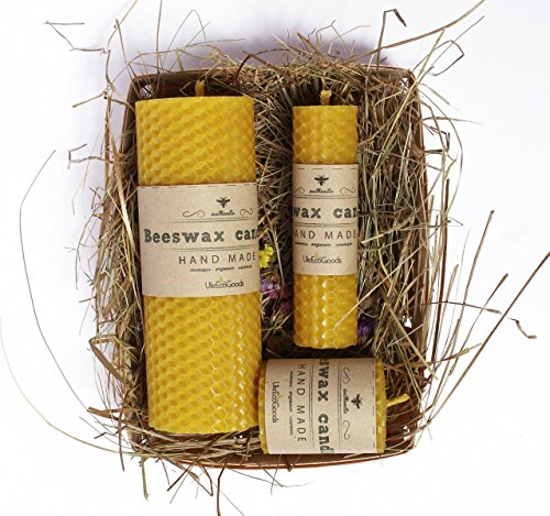 UkrEcoGoods Beeswax Candle Gift Set of 3 Hand-Rolled, Souvenir, Gift,