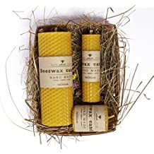 UkrEcoGoods Beeswax Candle Gift Set of 3 Hand-Rolled