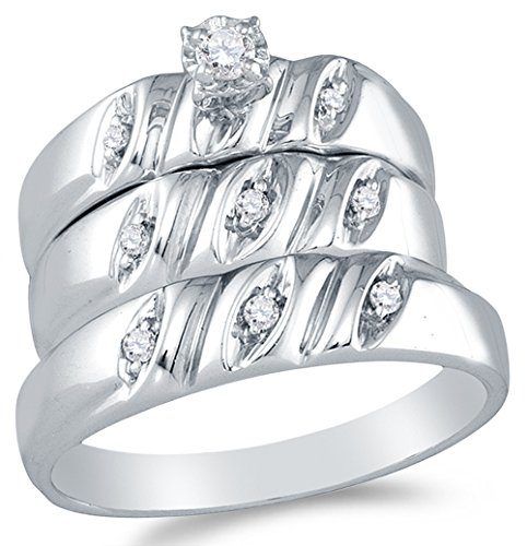 Sizes - L = 9, M = 13 - 925 Sterling Silver Round Diamond Trio Three Ring Set - Matching His and Hers Engagement Ring & Wedding Bands - Prong Set Solitaire Center Setting Shape (1/8 cttw.) - Please use drop down menu to select your desired ring sizes
