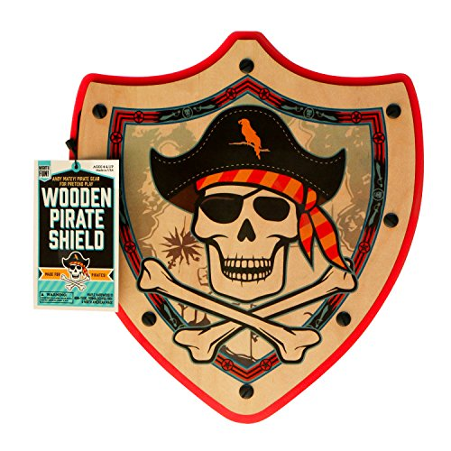 Pirate Shield from MIGHTY FUN - Kids Wooden Toy Shield for Pretend Play (Red)