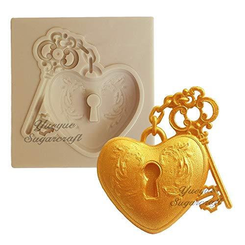 (Heart and Key Silicone Mold Fondant Mold Cake Decorating Tools Chocolate Gumpaste Mold)