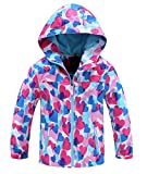 Seeduck Girls' Outdoor Floral Fleece Lined Windproof Jacket with Hood (5T=120CM=47.2 Inch, Light Blue)
