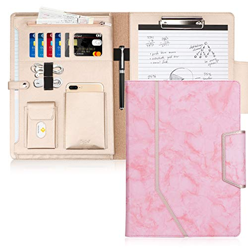 Padfolio Office - Toplive Padfolio Portfolio Case, Conference Folder Executive Business Padfolio with Document Sleeve,Letter/A4 Size Clipboard,Business Card Holders, Portfolio Padfolio for Women/Men,Marbling Pink