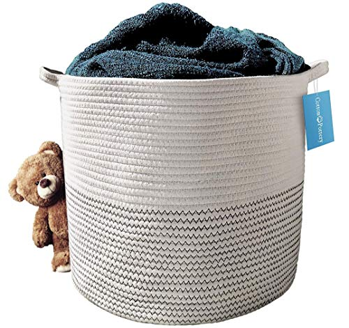 Cotton Rope Basket (White) - Blanket Basket, Storage for Baby Toys, Pillows, Towels, Laundry, Nursery Hamper/Organizer - Large 17