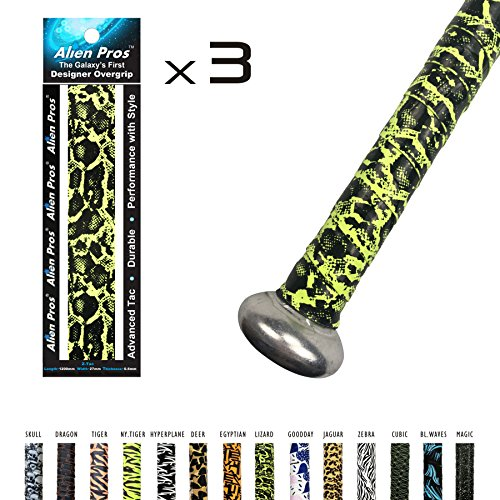 Baseball Bat Grip (Alien Pros X-Tac Sticky Baseball Grip Tape - Non-Slip Grip Tape for Baseball Bats and Softball Bats - Perfect to Overgrip Aluminum or Wood Bats - 3 Pack (Z-Tac 4, 3-Pack))