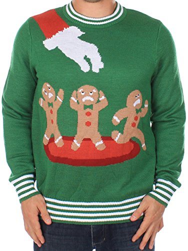 Tipsy Elves Ugly Christmas Sweater - Gingerbread Nightmare Sweater (Green) (Large)]()