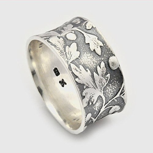 (Handmade sterling silver concave leaf motif alternative wedding ring available size 3-11)