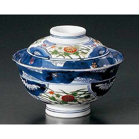 OLD IMARI Jiki Japanese Porcelain Set Of 5 Rice Bowls With Cover For TERIYAKI BOWL