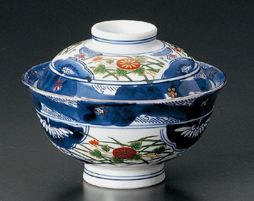OLD-IMARI Jiki Japanese Porcelain Set of 5 Rice-bowls with Cover for TERIYAKI-BOWL