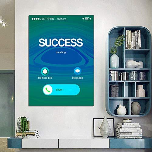 Motivational Canvas Wall Art Success is Calling Office Wall Decor -Inspirational Wall Art Entrepreneur Quotes Canvas Artwork Framed for Home Bathroom Men -12