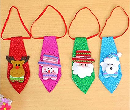 LED Christmas LightUp Flashing Sequins Tie Santa Snowman Necktie Kids Xmas Gift