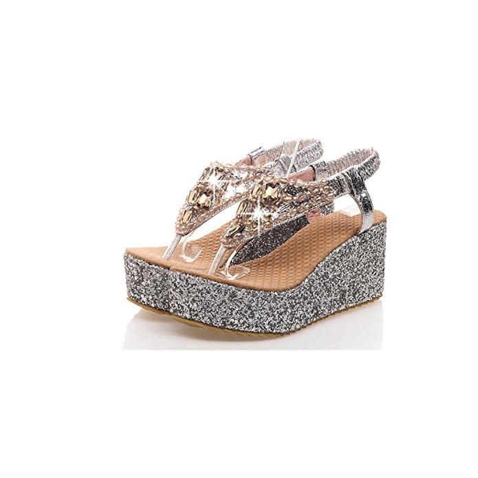 Da Wedge Sandali Scarpe Fibbia Bello primavera Mnii Oro Argento Donna Rosa E Piattaforma 37 Borse Palloncino Primavera Elegante Heel Estate Silver-
