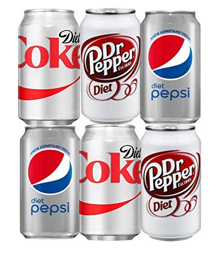 Assortment of Diet Soda, Coke, Pepsi, Dr Pepper Drinks Refrigerator Restock Kit (Pack of 6)