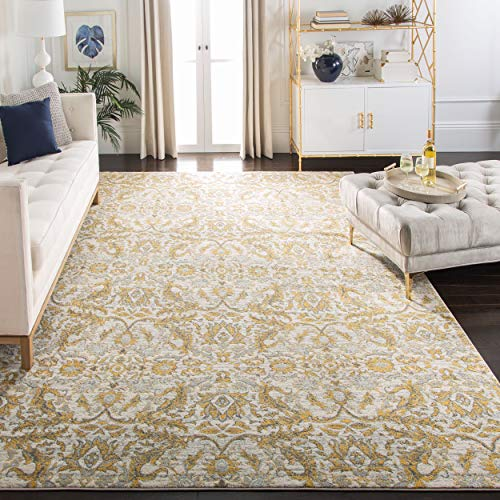 Area Gold Rug Dark - Safavieh Evoke Collection EVK238S Contemporary Ivory and Gold Area Rug (8' x 10')