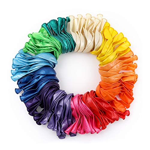 RUBFAC 120 Party Assorted Color Balloons 12 Inches 12 Kinds of Rainbow Balloons, Latex Balloons for Party Decoration, Birthday Party Supplies Or Arch Decoration