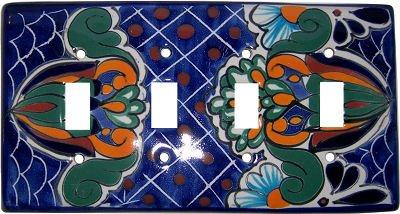 Blue Mesh Talavera Quadruple Toggle Switch Plate by Fine Crafts & Imports