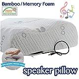 Comfyt Headphones Pillow- Earphones Pillow - Speaker Pillow Speaker Built in HQ Stereo Speakers Memory Foam Pillow Bamboo Pillow Music Pillow Ideal for All Sleepers, Ultra Comfy Bamboo Pillow case