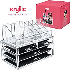 Acrylic jewelry cosmetic Vanity organizer - Great Box for Organizing your Lipstick Nail Polish Makeup Brushes Set Holder keep Dresser Bathroom Organized with 4 set of Drawers By Kryllic