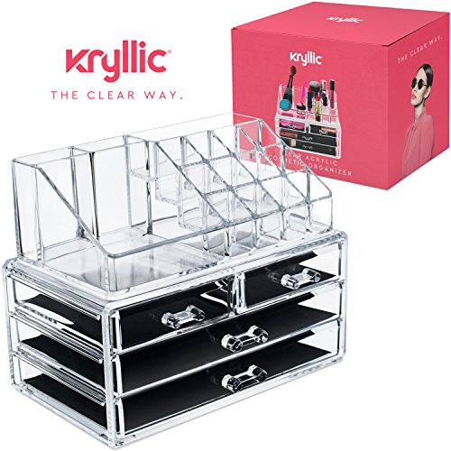 51Ja1T dvxL - Acrylic jewelry cosmetic Vanity organizer - Great Box for Organizing your Lipstick Nail Polish Makeup Brushes Set Holder keep Dresser Bathroom Organized with 4 set of Drawers By Kryllic