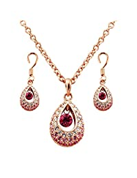 Fashion plaza Jewelry Gift Gorgeous Design Red Crystal Necklace and Earring Set S115