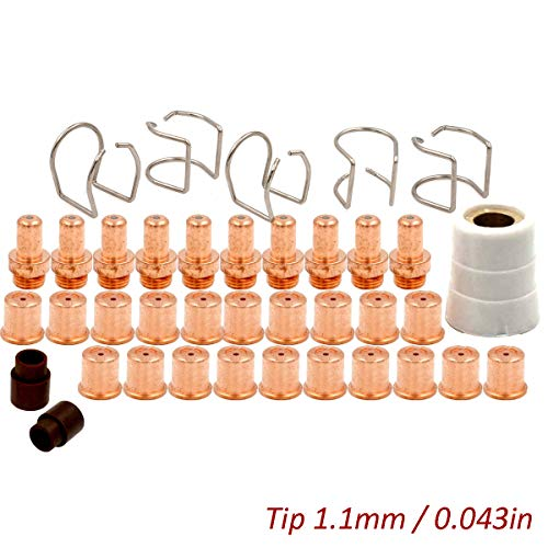 Plasma Electrode Tip Shield Cup Ring Kit for Eastwood Versa-Cut 60amp Cutter Trafimet CB70 Torch Consumables 38pcs ()