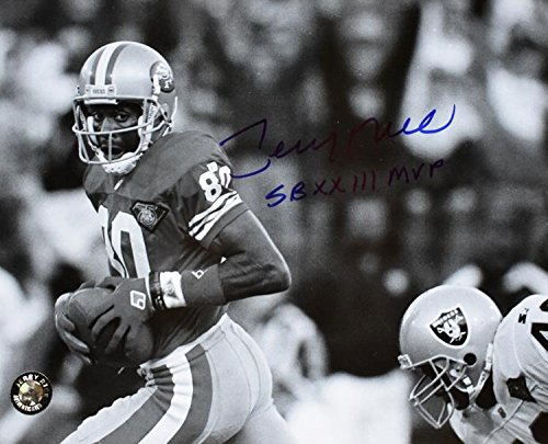 Autographed Rice Photo - 8x10 inch Super Bowl MVP Guaranteed to pass PSA DNA or JSA - Beckett Authentication (Photograph Rice 8x10 Jerry Autographed)