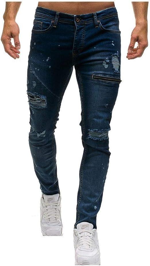 AngelSpace ポケットソリッドカラーのミッドライズスタイリッシュストレッチジーンズ付き男性ジッパー穴