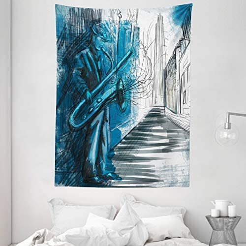Ambesonne Music Tapestry, Saxophone Man Playing Solo in Street at Night Vibes Grunge Design Print, Wall Hanging for Bedroom Living Room Dorm, 60 X 80 , Grey Blue