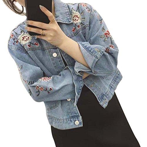 Damen Mädchen Bestickt Herbst Beiläufig Denim JeansJacken Hellblau M