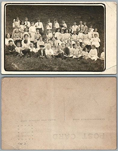 GROUP OF KIDS BOYS w/BASEBALL BATS ANTIQUE 1911 REAL PHOTO POSTCARD RPPC